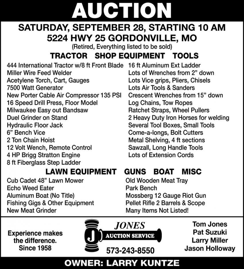 Auction Saturday, September 28