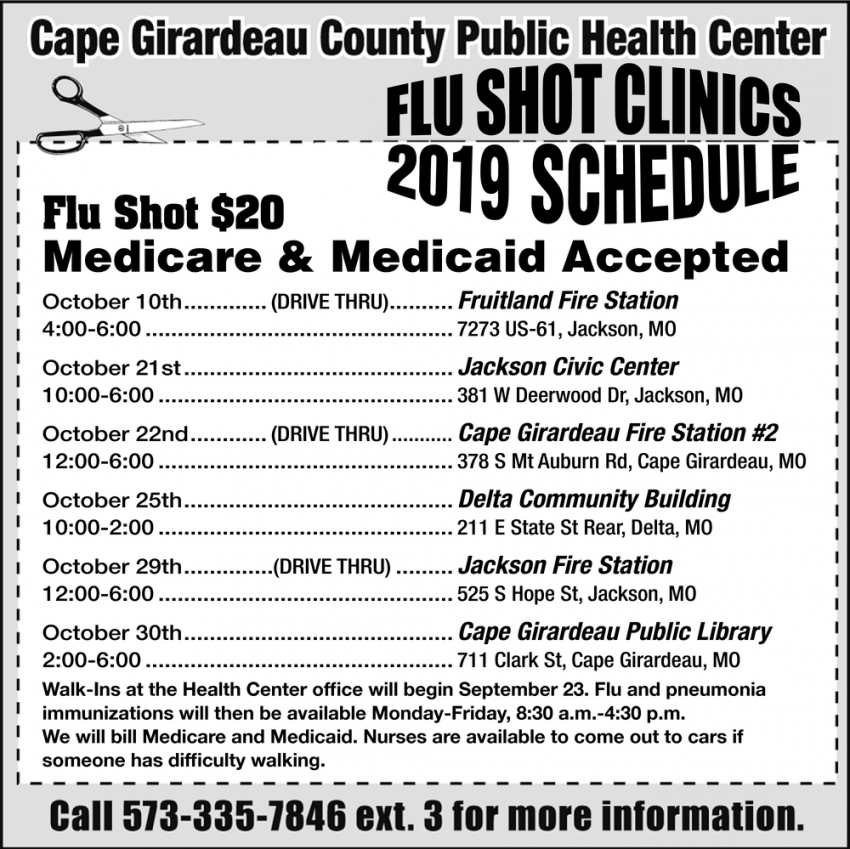 Flu Shot Clinics 2019 Schedule