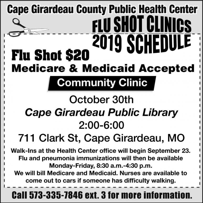 Flu Shot Clinics 2019 Schedule
