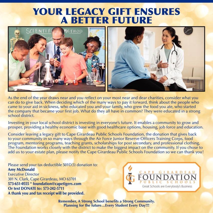 Your Legacy Gift Ensures a Better Future