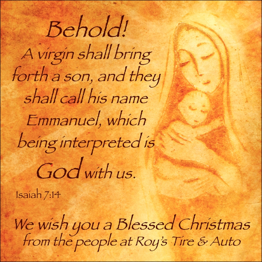 We Wish You a Blessed Christmas from the People at Roy's Tire & Auto