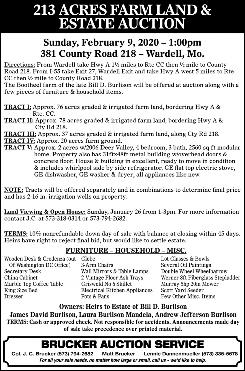 Farm Auction Saturday, February 8, 2020