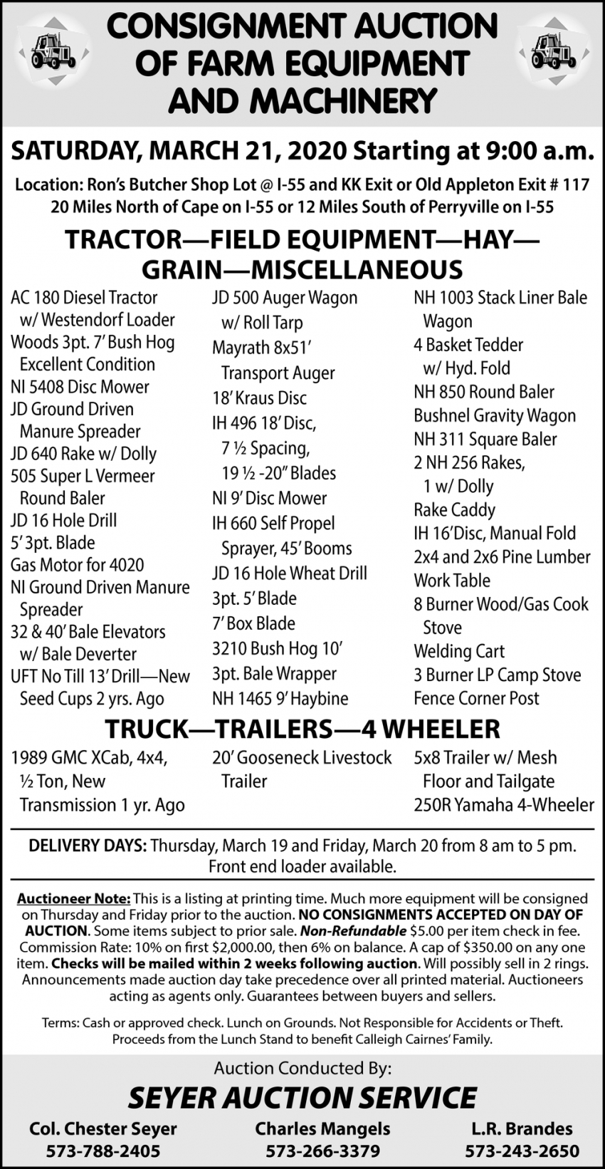 Consignment Auction of Farm Equipment and Machinery